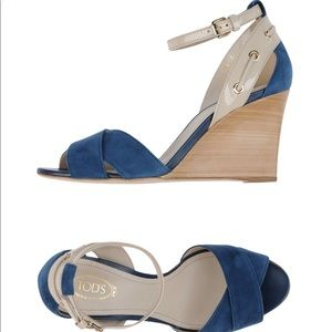 Tod's blue suede wedge sandal size 38